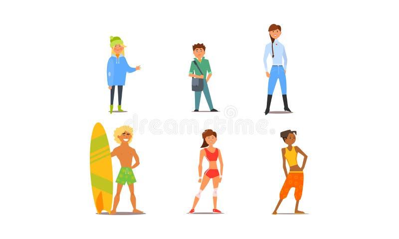 Olika unga och vuxna man- och kvinnatecken för folk, av den olika utseende- och hobbyvektorillustrationen royaltyfri illustrationer