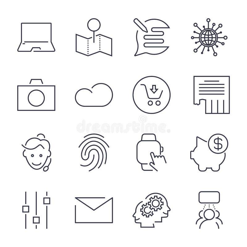 Olika universella symboler Tunn linje och perfekt vektor för platser, apps, program royaltyfri illustrationer
