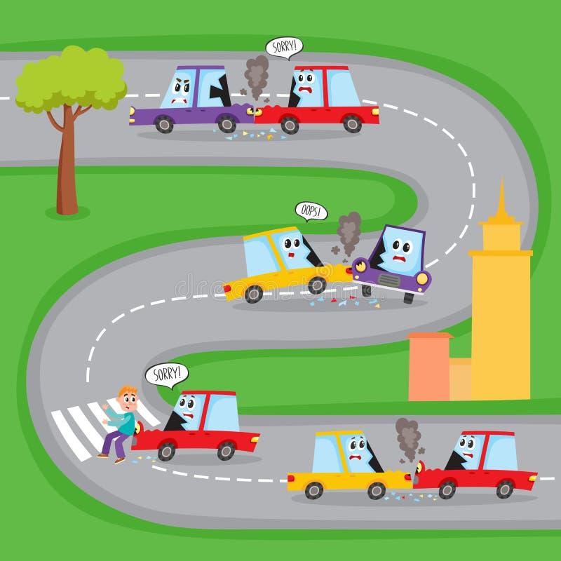Olika vägolyckor med roliga biltecken stock illustrationer