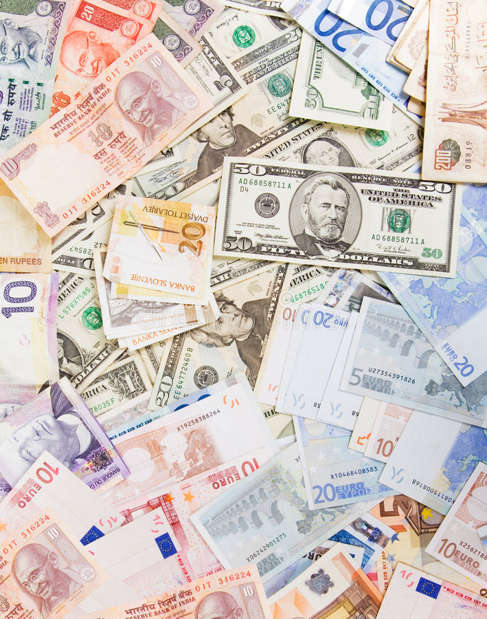 olika valutor royaltyfri bild