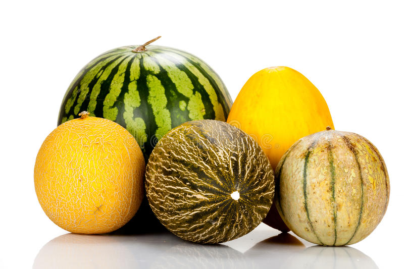 Olika variationer av melon arkivfoton