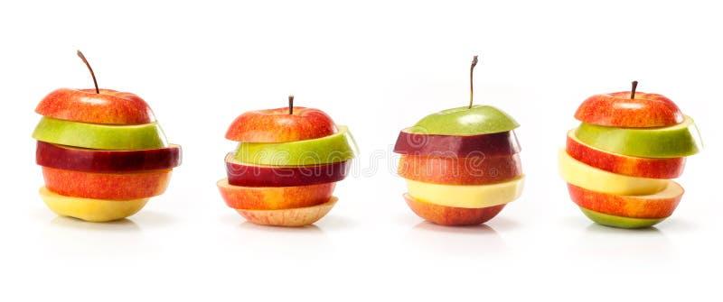 Olika variationer av skivor för äpplesnittintp royaltyfri fotografi