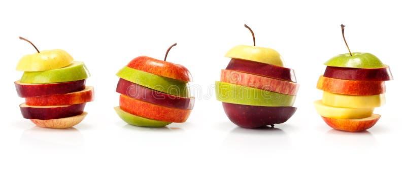 Olika variationer av skivor för äpplesnittintp fotografering för bildbyråer