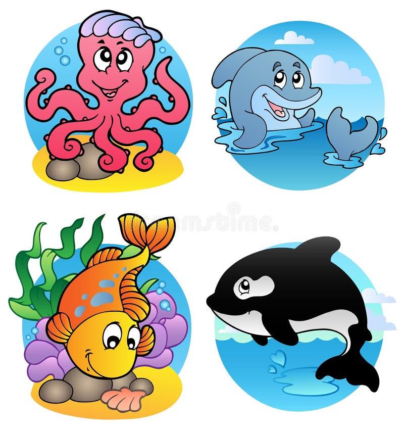 olika vatten- fiskar för djur royaltyfri illustrationer