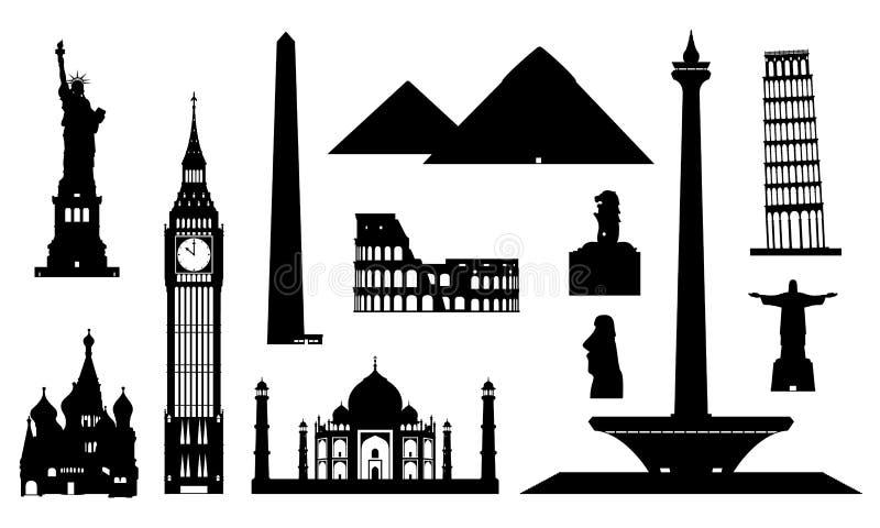 Olika vektorer av byggnader royaltyfri illustrationer