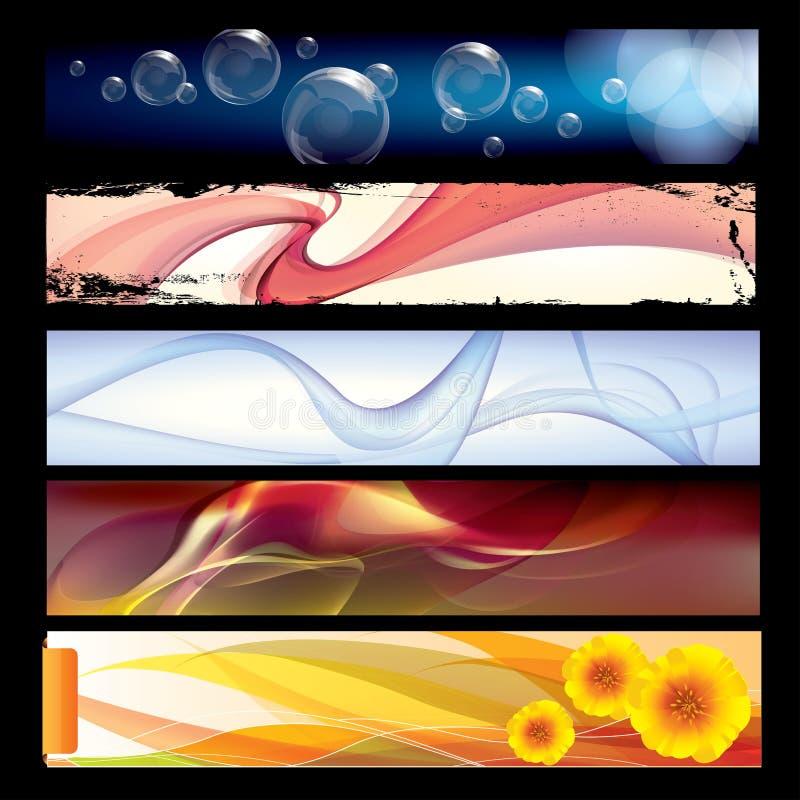 Olika vektormallbaner med färgrik abstrakt bakgrund royaltyfri illustrationer