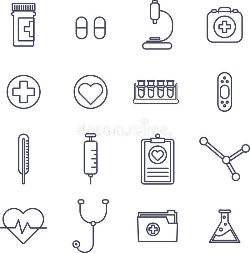 Olika vektorsymboler för medicinsk utrustning royaltyfri illustrationer
