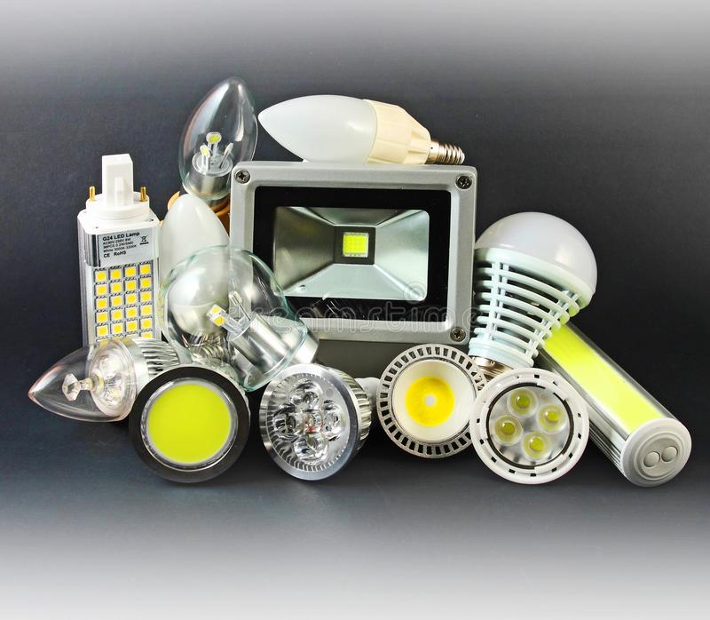 Olika versioner av LED lampor royaltyfri fotografi