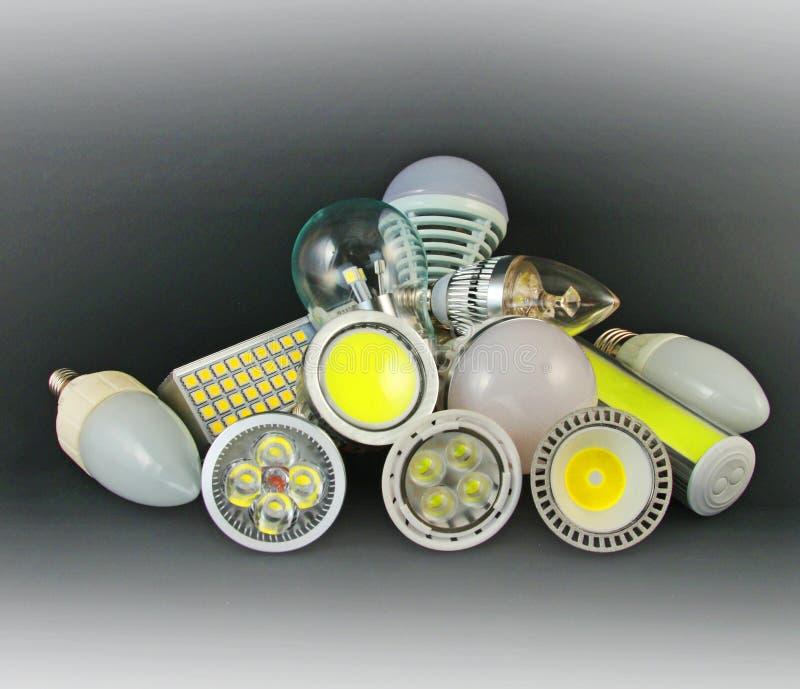 Olika versioner av LED lampor royaltyfria bilder