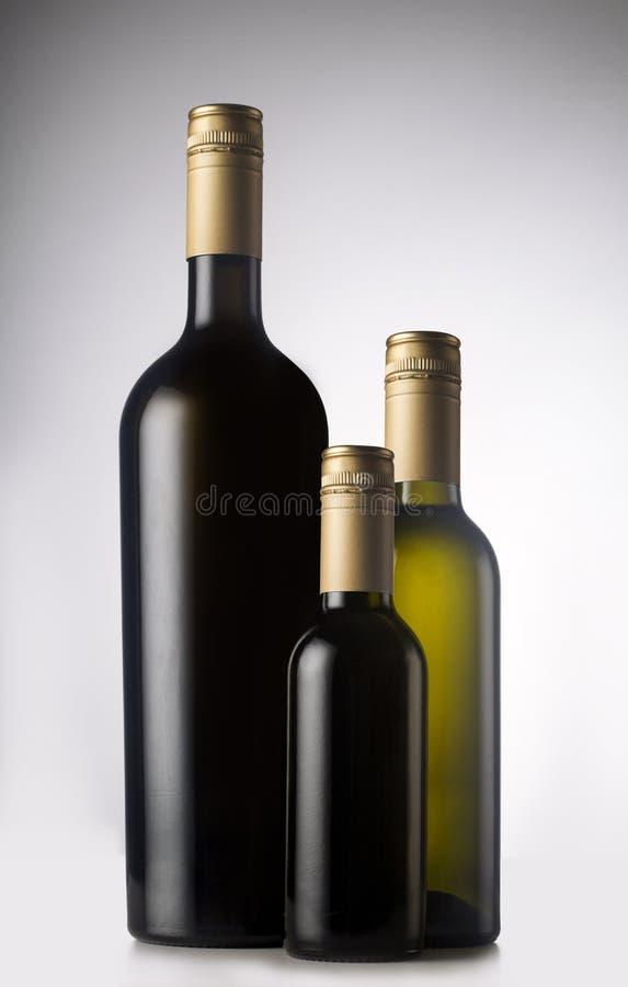 Olika vinflaskor med snattar arkivbilder