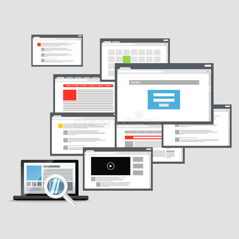 Olika webbläsarefönster och modern bärbar dator royaltyfri illustrationer
