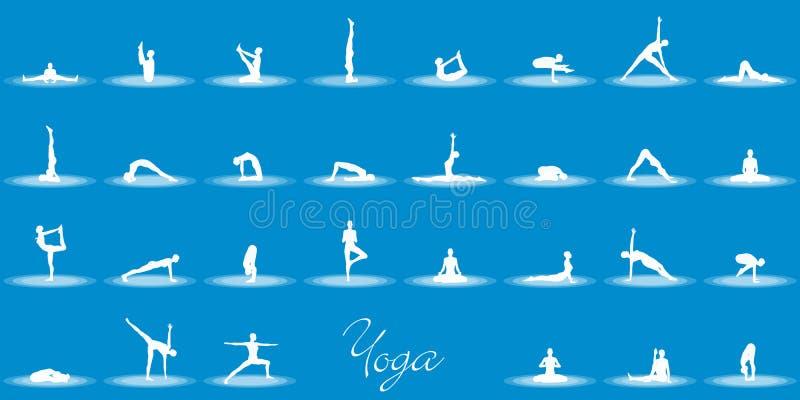 Olika yogapositioner stock illustrationer