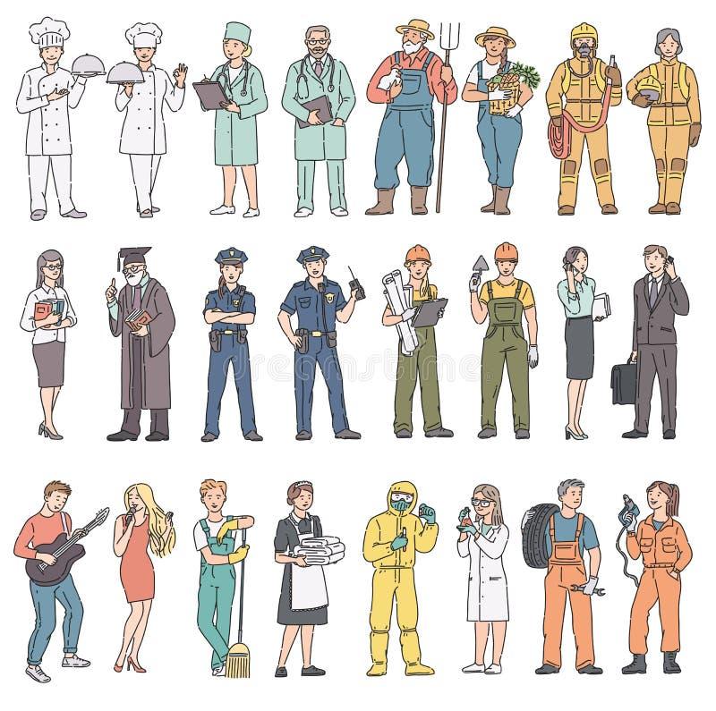 Olika yrken för vuxen människafolk i likformig Kvinnor och män för arbets- dag i yrkesmässig kläder Vektorillustration i vektor illustrationer