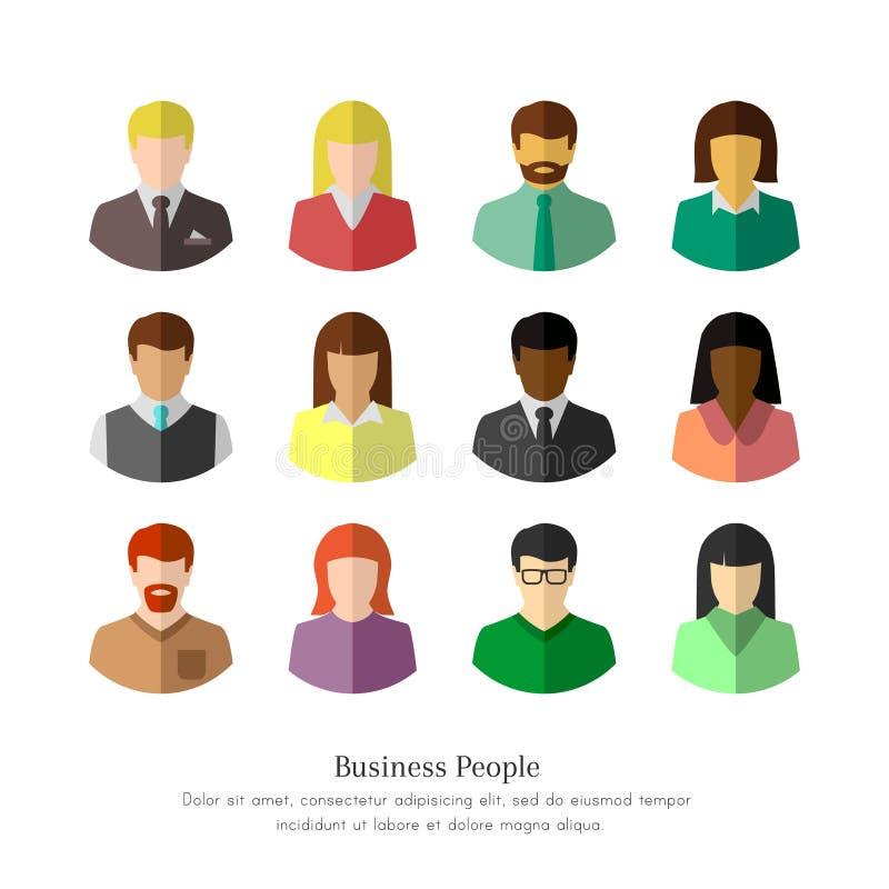 Olikt affärsfolk i plan design stock illustrationer