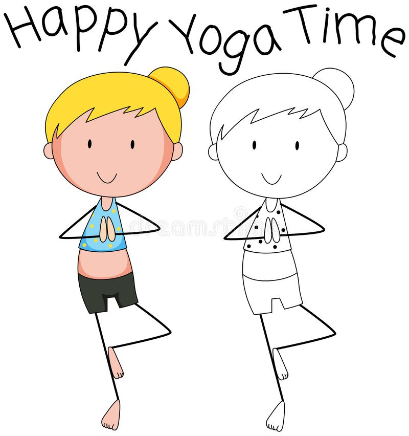 Olikt diagram av yoga stock illustrationer