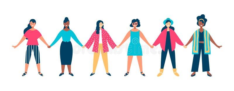 Olikt för kvinnagruppinnehav för händer begrepp tillsammans stock illustrationer