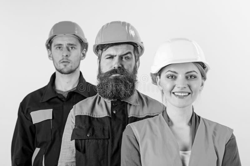 Olikt folk i lag av arkitekter, jobbare, byggmästare, arkivbild