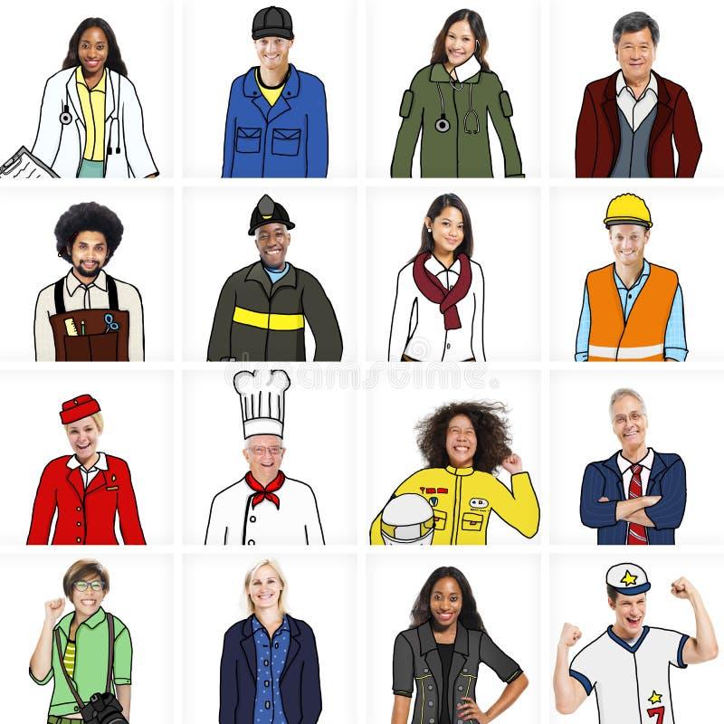 Olikt folk i yrkesmässigt ockupationbegrepp vektor illustrationer