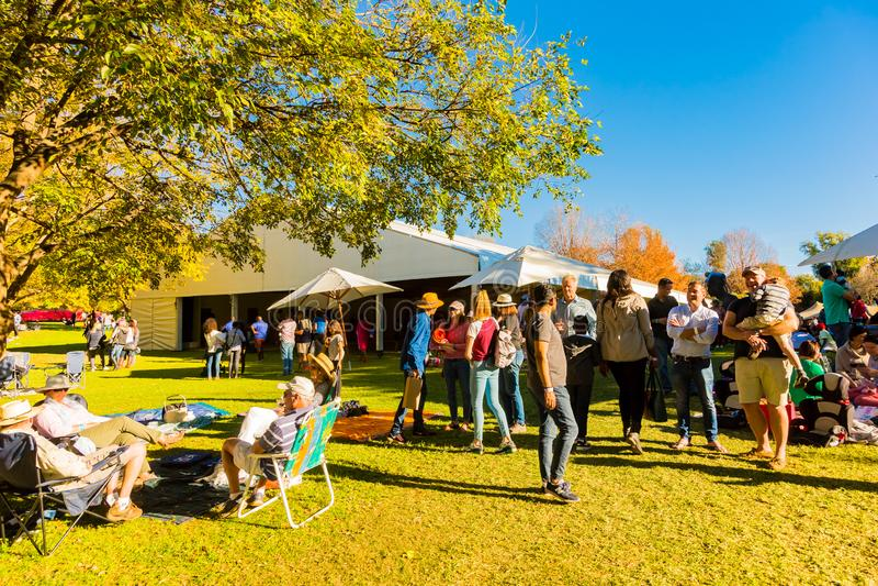 Olikt folk på en utomhus- mat- och vinfestival royaltyfria foton