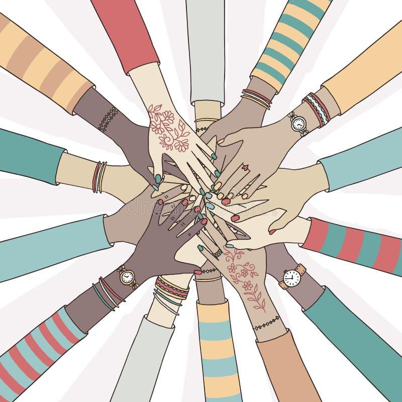 Olikt folk som tillsammans rymmer deras händer royaltyfri illustrationer
