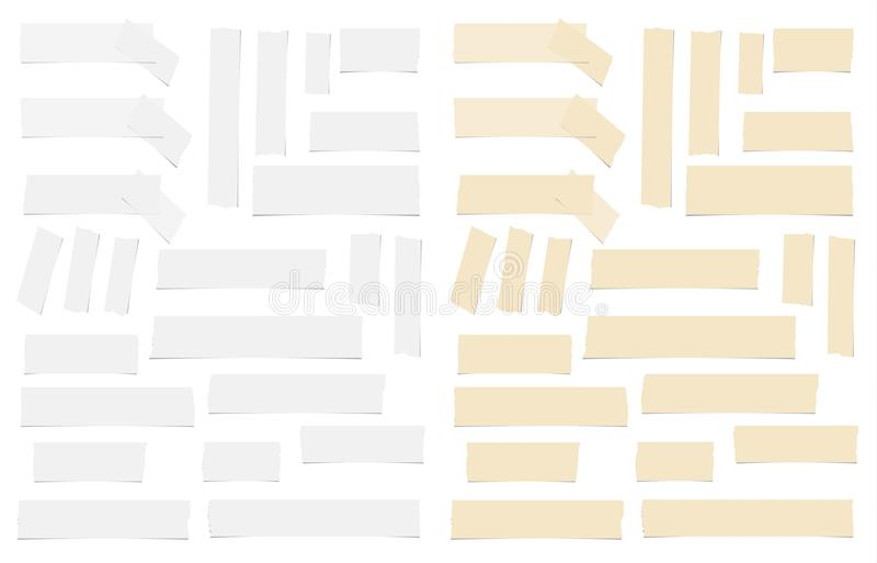Olikt formatbindemedel för brunt som och för vit är klibbigt, tejp, pappersstycken stock illustrationer