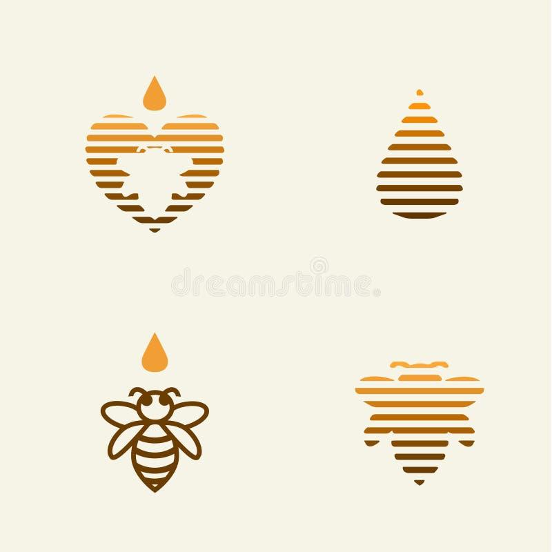 Olikt honung och bi Logo Design Set stock illustrationer