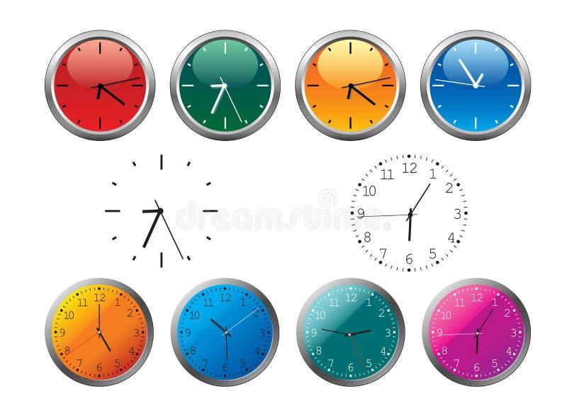 olikt kontor för klockafärger vektor illustrationer