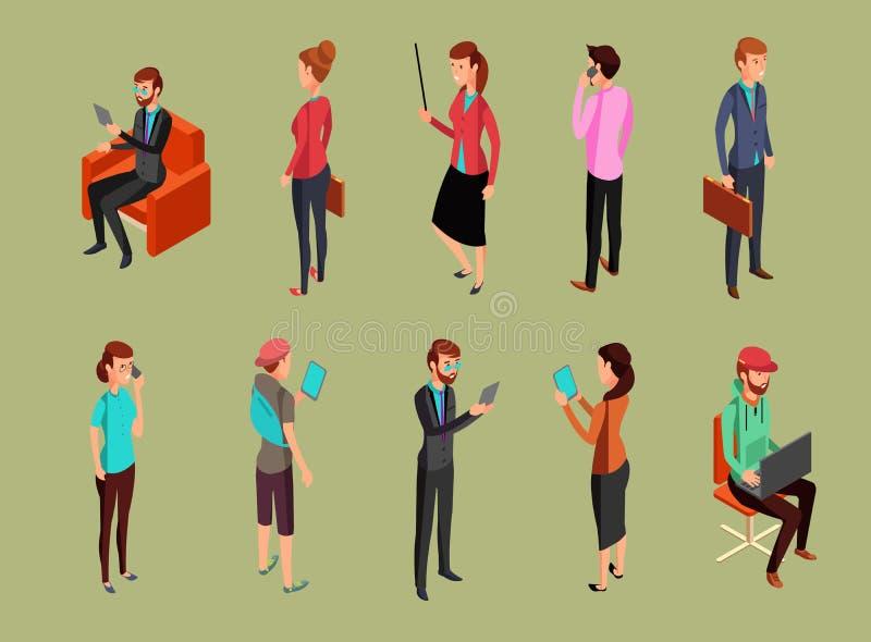Olikt kontorsfolk som sitter och står, genom att använda grejer Isometrisk kvinna- och manvektorillustration royaltyfri illustrationer