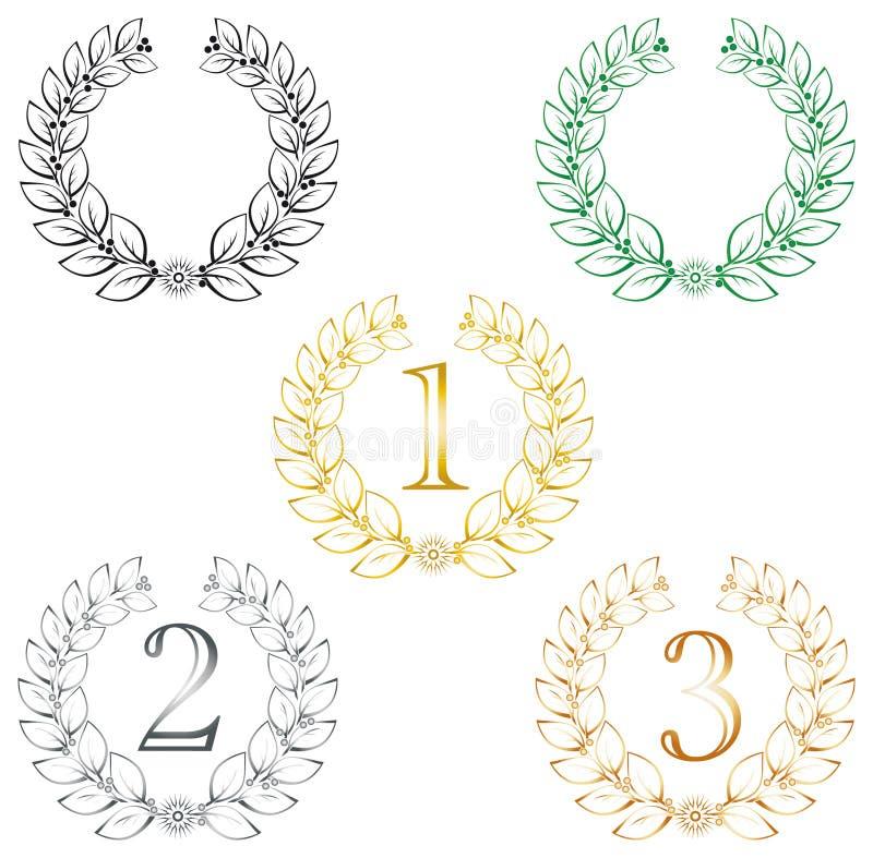 olikt lagrar wreathes royaltyfri illustrationer