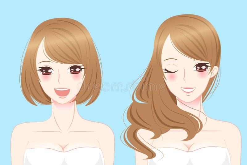 Olikt leende för kvinna för hårstil stock illustrationer