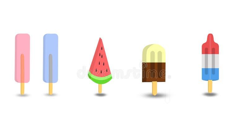 Olikt och blandat eller illustration av isglassar royaltyfri illustrationer