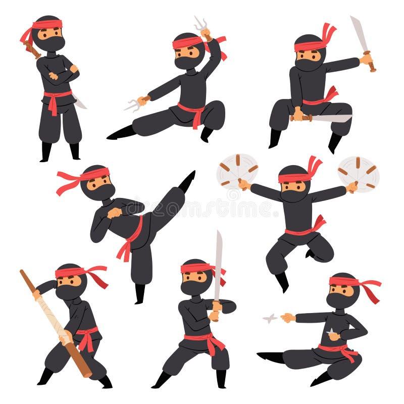 Olikt poserar av ninjakämpe i japansk man för svart för torkduketeckenkrigare vapen för svärd krigs- och karatetecknad film royaltyfri illustrationer