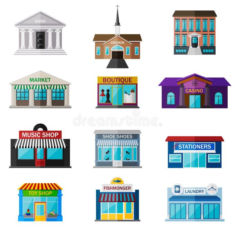 Olikt shoppar, institutioner, och diversehandeln sänker symbolsuppsättningen royaltyfri illustrationer