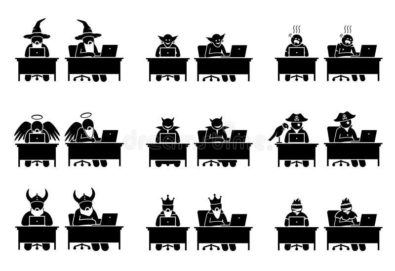 Olikt tecken och folk som använder datoren för att surfa internet royaltyfri illustrationer