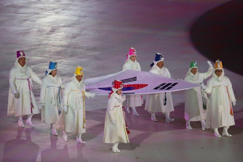 2018 olimpiad zimowych ceremonia otwarcia obraz stock
