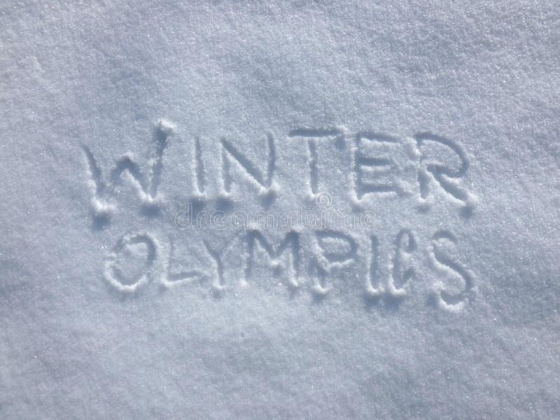 Olimpiadas de invierno - escritura de la nieve fotos de archivo libres de regalías