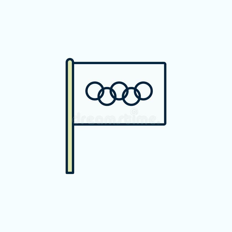 Olimpiady flagi 2 barwiąca kreskowa ikona Prosta barwiona element ilustracja Olimpiada konturu symbolu projekt od flag ustawia da royalty ilustracja