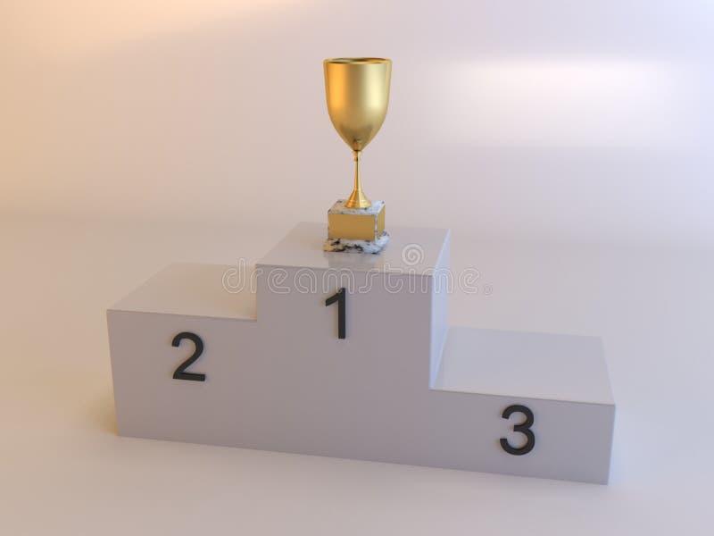 Olimpiady podium i złoto filiżanka zdjęcie stock