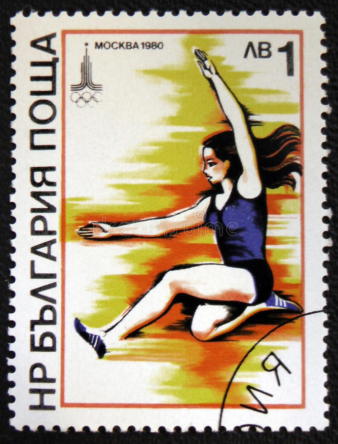 Olimpic game 1980 in Moscow. Shows jumping sport. Circa 1980. MOSCOW, RUSSIA - JANUARY 7, 2017: A stamp printed in USSR devoted Olimpic game 1980 in Moscow stock photography