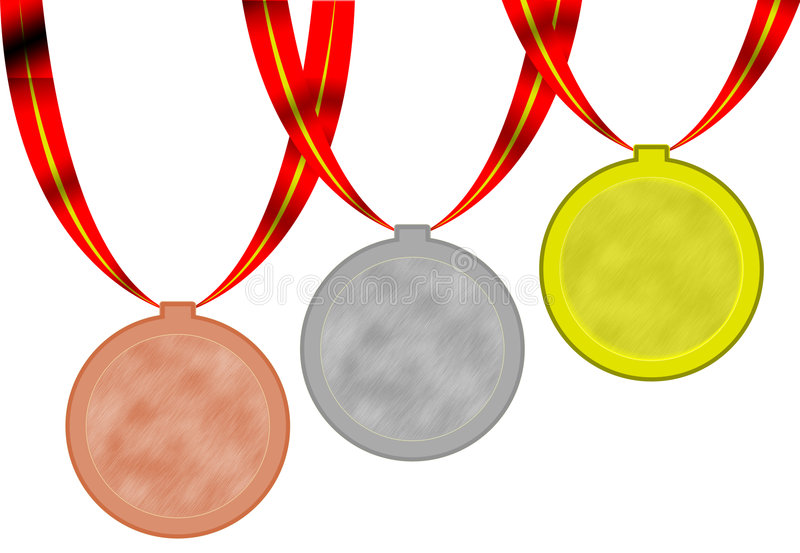 Olimpic medals. 3 olimpic medals gold silver bronze wirh red ribbons stock illustration