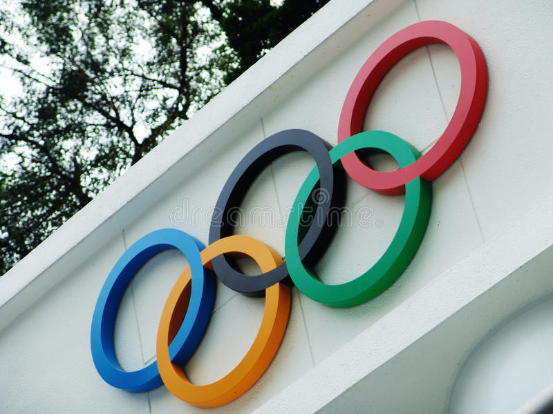 olimpijscy pierścionki fotografia stock