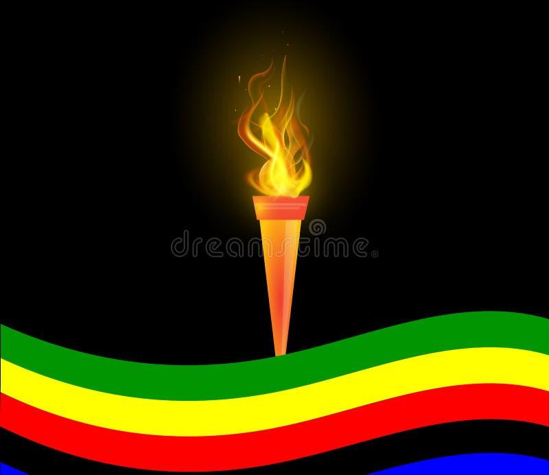 Olimpijska pochodnia i flaga ilustracji