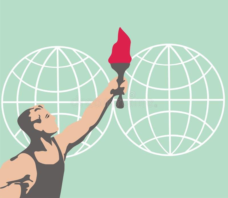 Olimpijska pochodnia podróżuje dookoła świata mistrz olimpijski igrzyska olimpijskie ilustracja wektor