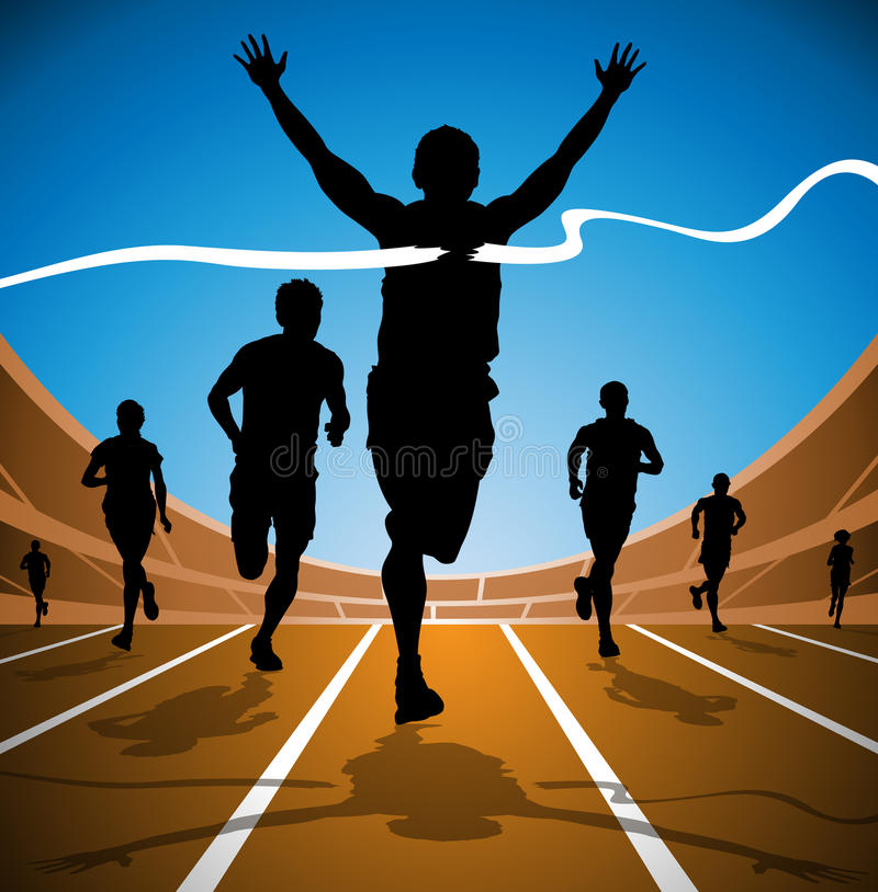 olimpijski biegowy zwycięzca royalty ilustracja