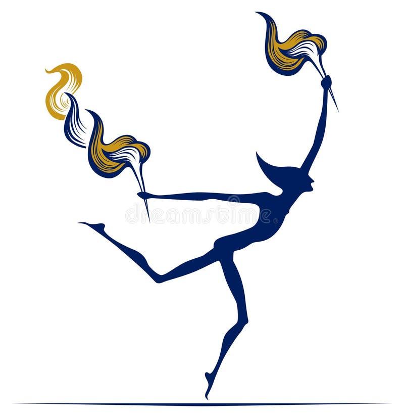 olimpijski płomienia mężczyzna ilustracja wektor