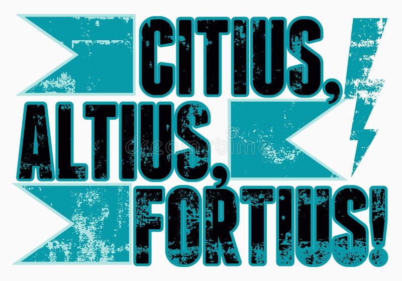 Olimpijski slogan Citius, Altius, Fortius! Rocznika grunge stylu sporta plakat retro ilustracyjny wektora ilustracja wektor