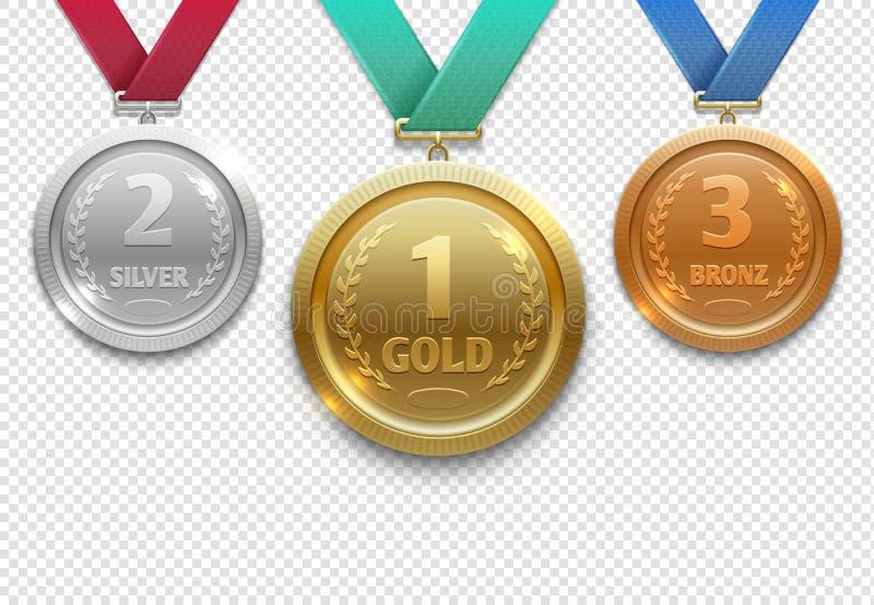 Olimpijski złoto, srebro i brąz, nagradzamy medale, zwycięzcy honoru wektoru nagrodzony set royalty ilustracja