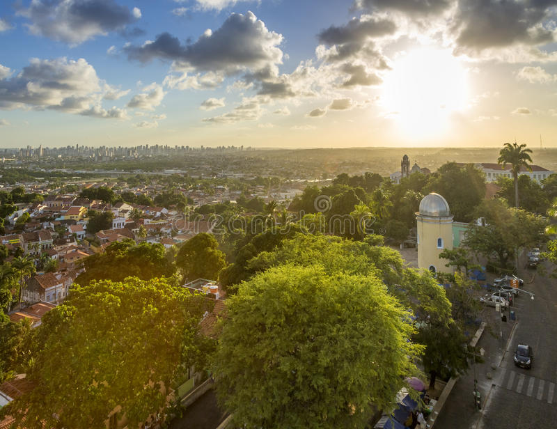 Olinda. Aerial view of the historic architecture of Olinda in Pernambuco, Brazil at sunset royalty free stock photos