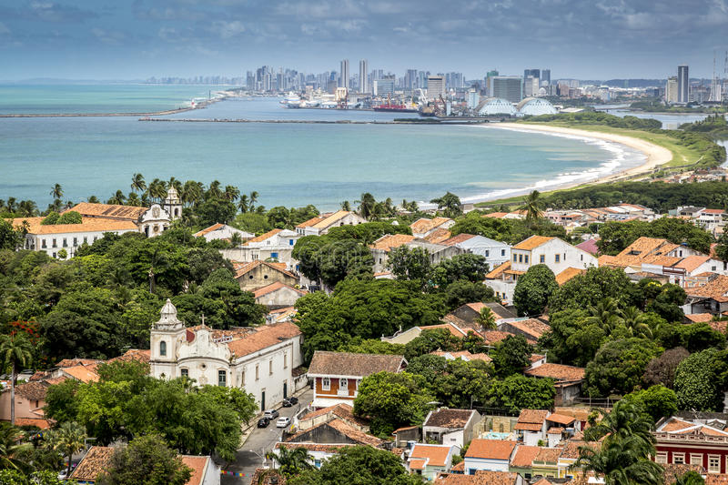 Olinda. Aerial view of Olinda in Pernambuco, Brazil with the city of Recife on the Background royalty free stock photography