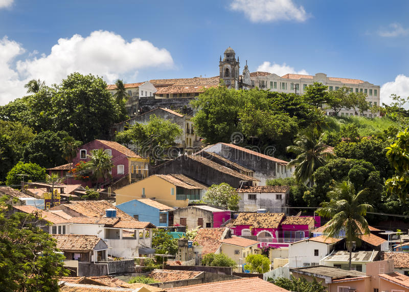 Olinda. Aerial view of Olinda in Pernambuco, Brazil with its historic buildings dated from the 17th century stock image